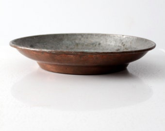 antique copper bowl, hammered copper plate with patina