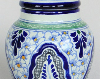 Hand Painted Cookie Candy Temple Jar Urn Mexico