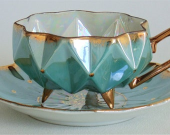 Royal Sealy 3-Footed & Faceted Tea Cup With Saucer Iridescent Turquoise With Beautiful Gold Trim