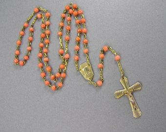 Vintage Coral Rosary, Genuine Salmon Coral,  Hand Carved