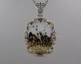 Edwardian Filigree Pendant, Moss Agate, Sterling and Vermeil, Feminine, Scottish Agate, Vintage Necklace