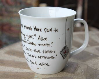 """Alice in Wonderland """"Take some more tea"""" Mad Hatter Tea Party Mug - Hand painted, white with tea bag string"""
