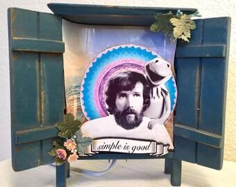 "JIm Henson ""simple is good"" prayer alter lightbox diorama kermit"