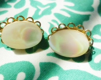 DEAL Mother of Pearl Clip ons-Gold Knot clip ons-2 pair Vintage Clip ons