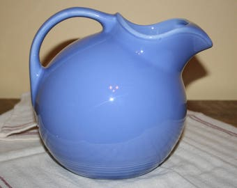 Vintage Harlequin Fiesta Mauve Blue Ringed Ball Service Water Pitcher with Ice Lip Excellent Condition