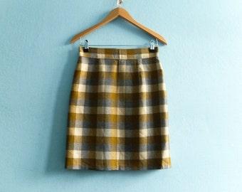 Vintage Short Skirt Mini / Plaid Checked / Yellow Grey Cream / Pencil Skirt / High Waisted / Fall Winter / small