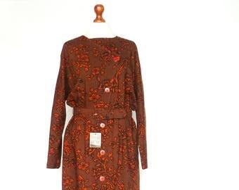 Vintage Wool Dress / Brown Orange / Floral / Buttoned Up Down / Long Batwing Sleeve / Midi / medium