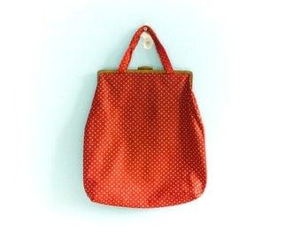 Vintage Purse Handbag Tote Bag Fabric / Red white Polka Dots / Metal Frame / Summer / 50s 60s