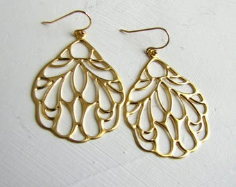 Filigree Butterfly Wing Earrings Gold Earrings Casual Earrings Every Day Jewelry Simple Gold Earrings Butterfly Wings Jewelry Nature Jewelry