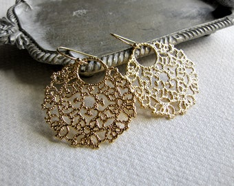 Round Filigree Earrings Rhinestone Earrings Wedding Earrings Bridal Earrings Bridesmaid's Earrings Gold Filigree Earrings Gold Earrings Deco