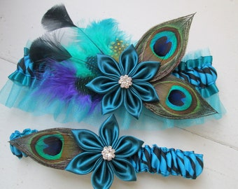 Peacock Wedding Garter Set, Teal Blue Garter, Zebra Garter, Turquoise Garters, Feather Prom Garters, Something Blue, Beach Bride