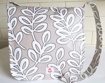 Leaf Print Oilcloth Mabel Messenger Bag