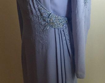 Beautiful Periwinkle Blue Kimono Style Beaded Vintage Dress