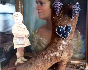 It Will Not Hold Your Foot But Display Your Antique Pins Velvet Boot Pincushion