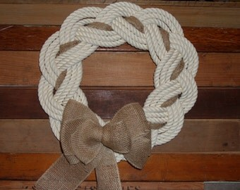 Cotton Rope Knotted Wreath Nautical Decor Door Hanging Holiday Decoration Beach Decor