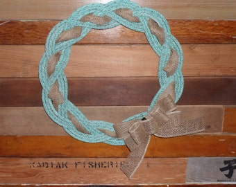 """Knotted Rope Wreath Nautical Decor Door Hanging Holiday Decoration Beach Decor 17"""" Green With Burlap"""