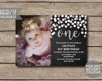 DIGITAL FILE - First Birthday Invite Invitation - Pink & Silver Glitter Confetti Chalkboard - DIY - Print Yourself