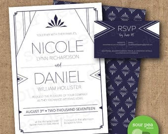 Wedding Invitation - DIY Custom Printable - Art Deco Navy Triangles