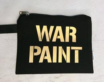 Canvas Makeup Bag WAR PAINT Black with Gold Metallic Print