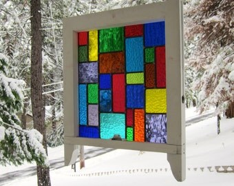 Multi Color Stained Glass Reclaimed Wood Window