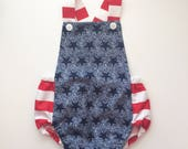 Red, White and Blue Stars and Stripes, 4th of July, Independance Day Gender Neutral Baby Bubble Romper Bodysuit Playsuit