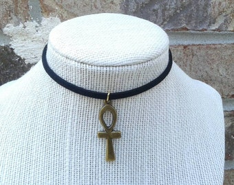 Gold/Silver Faux Leather Ankh Choker