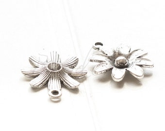 6 Pieces / Flower / Oxidized Silver Tone / Base Metal / Charm (Y19326//D598)