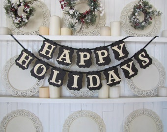 HAPPY HOLIDAYS Banner, Happy Holidays Christmas Banner, Christmas Decoration, Christmas Card Photo Prop, Christmas Sign