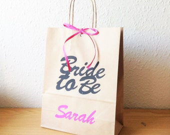 Hen party bag - Bride to Be  personalized cut out text on brown paper gift bag 24cmx 31cm x 10cm
