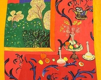 Vintage Metropolitan Museum of Art Silk Scarf~Henry Matisse~The Desert: Harmony in Red~Wearable Art Scarf