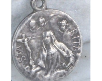 "SAINT RITA Patron Saint Vintage Religious Medal Jewelry Pendant on 18"" sterling rolo chain"