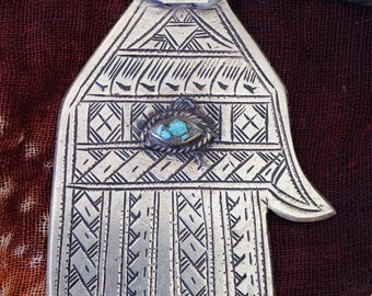 Moroccan Hamza Hand of Fatima Amulet with Turquoise and Leather Cord