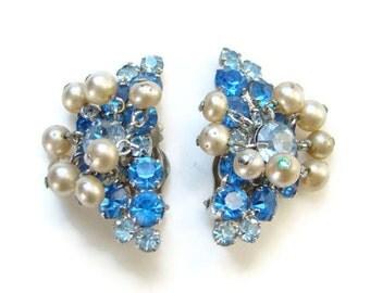 Vintage Sapphire Blue Rhinestone Clip Earrings with Faux Pearl Dangles Set in Silvertone