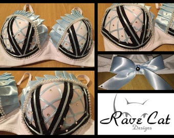 Alice Down the Rabbit Hole Rave Bra - Perfect for any Rave Outfit, edm Bra, Festival Bra, edm Outfit, Rave Wear, EDC Bra, or EDC Costume
