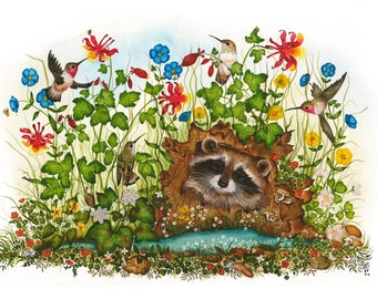 Blank Note card  4 x 6 -Wildlife Painting - Raccoon and Hummingbirds