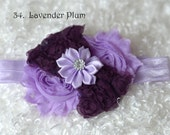 Lavender Plum Shabby Baby Headband/newborn headband/ baby hair bow/ hairbow/ baby bow/headband/ toddler hairbow,hair bow/ photo prop