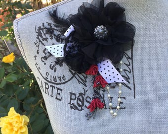 Black FEATHERS And FLOWERS Shabby Rose Fascinator BROOCH  - with Dangling Fuchsias