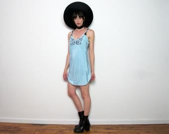 Blue Slip Dress LACE Vintage LINGERIE 70s VINTAGE Womens Size S/M