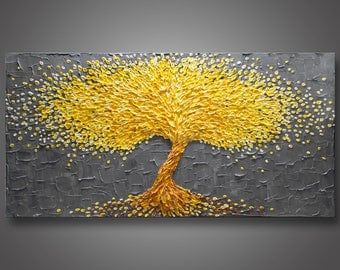 """HUGE 60""""x30""""x1.5"""" Original Blossom Tree Painting  Yellow & Gray - Palette Knife Impasto Textured - Gallery Stretched Canvas - FREE SHIPPING!"""