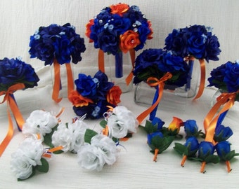 Royal Blue, Navy Blue and Orange Rose Bridal Bouquets, Corsages and Boutonnieres 20 Piece Silk Flower Package made to order Wedding Flowers
