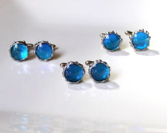 Set of 3 Real Butterfly Cufflinks, Blue Butterfly, Groomsmen Cufflinks, Groom Wedding