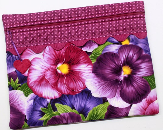 Giant Pansies Cross Stitch Embroidery Project Bag