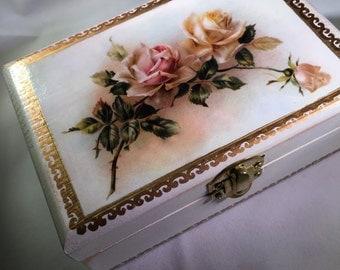 The Rose  Jewelry Box Trinket Box Keepsake Box
