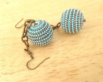 50s Style Beaded Bon Bon Earrings - Ball and Chain Jewelry, Beaded Ball , Rockabilly, Pin Up, Drop and Dangle Retro, Rockabilly