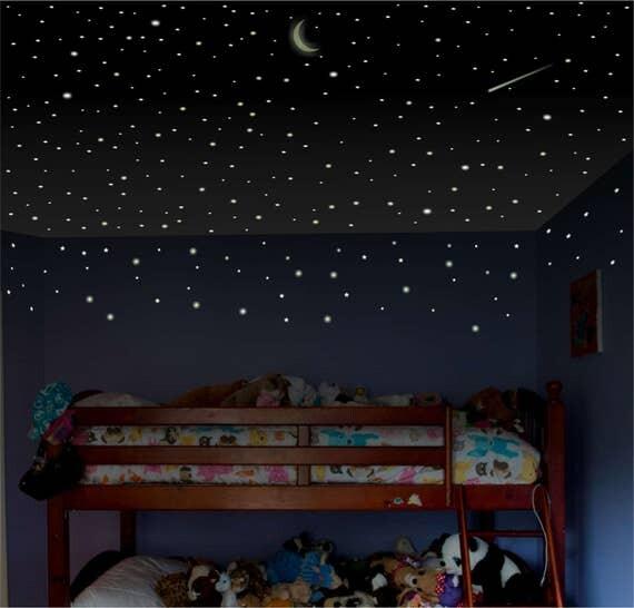 Wonderful Glow In The Dark Stars, Moon For Kids Bedroom, Ceiling Stars, Toddler  Bedroom Decor, Nursery Wall Decor, Glow Stars, Stocking Stuffer Gift