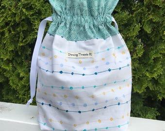 Sock Knitting Project Bag, Drawstring, Fully Lined, Yarn