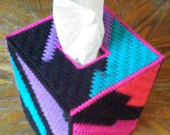 Neon Stripes Plastic Canvas Tissue Box Cover