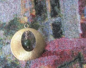 Vintage Krementz Chain Pendant Necklace Green Dangle Pendant