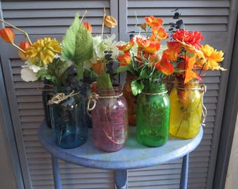 Flower Holders in Canning Jars, Flowers, Canning Jar, Canning, Mason, Colored, Dye