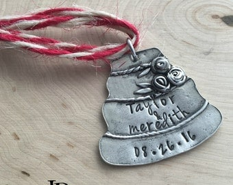 Wedding Cake ~  Wedding Date ~ First Christmas Ornament ~ Anniversary Date ~ Wedding Ornament ~ JessicaBe ~ Personalized Ornament ~ Marriage